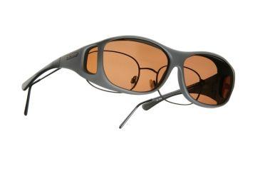 Cocoons Slim Line Over-Glasses Sunglasses, M Slate Frame, Copper Lenses C408C