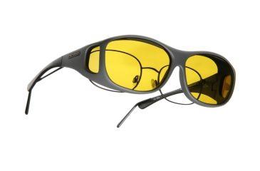 Cocoons Slim Line Over-Glasses Sunglasses, M Slate Frame, Yellow Lenses C408Y
