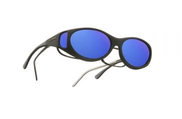 Cocoons Streamline Over-Glasses Sunglasses, S Black Frame, Blue Mirror Lenses C602M