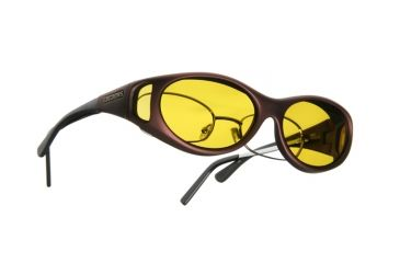 Cocoons Stream Line Over-Glasses Sunglasses, SM Burgundy Frame, Yellow Lenses C609Y