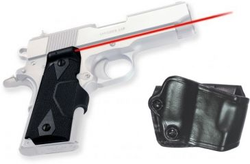 Crimson Trace Pistol Lasergrips - 1911, GOULD, Compact Grip and Leather Holster Combo LG-404H GOULD
