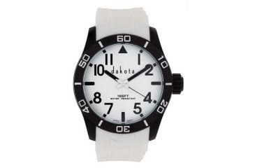 Dakota Watches Aluminum Diver, White/Black Dial, Aluminum Case, White Strap, NO 4791-7