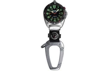 Dakota Watches Big Face Clip, Black EL Military Dial, Silver Case, Compass 8852-2