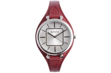 Dakota Watches Midsize Colorful Leather, Silver Dial, Red Leather Band 3030-0