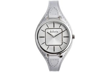 Dakota Watches Midsize Colorful Leather, Silver Dial, White Leather Band 3026-4