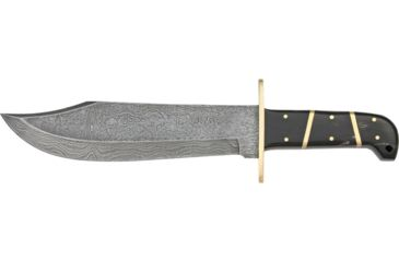 Damascus Bowie Fixed Knife, Damascus Steel Blade, Horn Handles with brass spacers DM1010