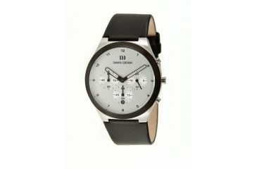 Danish Design Iq12q885 Anna Gotha Mens Watch - Black Leather Band, Pol SS Case, Black/White Face