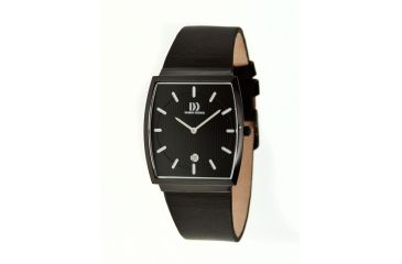 Danish Design Iq14q900 Stainless Steel Mens Watch - Black Leather Band, Black SS Case, Black Face