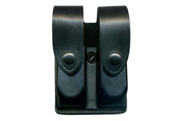 DeSantis Black - Plain - Double Mag Pouch - Nickel Snap U41BJEEZ1