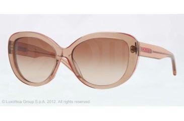 DKNY DY4107 Sunglasses 360513-56 - Peach Frame, Brown Gradient Lenses