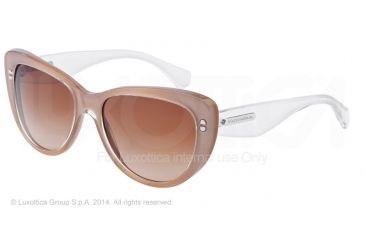 Dolce&Gabbana 3 LAYERS DG4221 Sunglasses 277313-55 - Top Crystal On Pearl Sand Frame, Brown Gradient Lenses