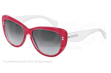 Dolce&Gabbana 3 LAYERS DG4221 Sunglasses 27758G-55 - Top Crystal On Pearl Red Frame, Grey Gradient Lenses