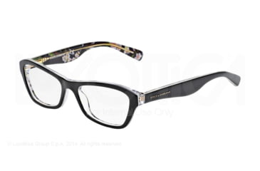 Dolce&Gabbana ALMOND FLOWERS DG3202 Single Vision Prescription Eyeglasses 2840-47 - Black Peach Flowers Frame