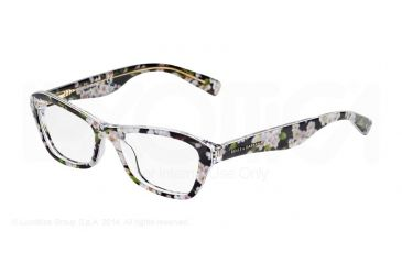 Dolce&Gabbana ALMOND FLOWERS DG3202 Single Vision Prescription Eyeglasses 2842-47 - Black Peach Flowers Frame