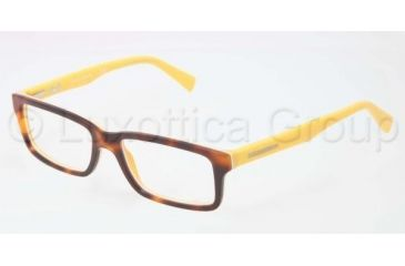 Dolce&Gabbana CONTRAST DG3148P Single Vision Prescription Eyeglasses 2606-5316 - Havana On Yellow Frame, Clear Lens Lenses