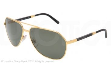 Dolce&Gabbana DG2073K Sunglasses 440/58-61 - Gold Frame, Crystal Green Polarized Lenses