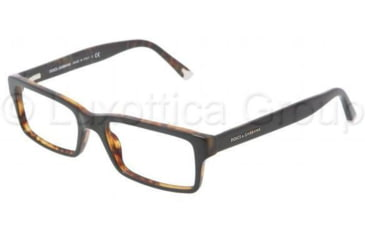 Dolce&Gabbana DG3123 Single Vision Prescription Eyeglasses 2517-5217 - Top Black / Havana Demo Lens Frame