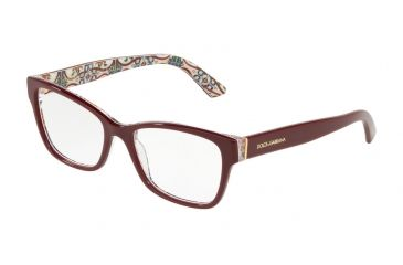 cd9cb056a190 Dolce Gabbana DG3274 Eyeglass Frames 3179-52 - Bordeaux On New Maiolica  Frame