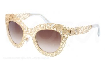 Dolce&Gabbana FILIGRANA DG2134 Sunglasses 02/13-47 - Antique Gold Frame, Brown Gradient Lenses