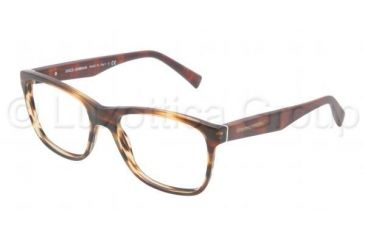 Dolce&Gabbana INTEGRATED FLEX HINGE DG3144 Single Vision Prescription Eyeglasses 2673-5317 - Matte Striped Brown Frame, Demo Lens Lenses