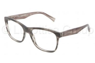 Dolce&Gabbana INTEGRATED FLEX HINGE DG3144 Single Vision Prescription Eyeglasses 2674-5317 - Matte Striped Gray Frame, Demo Lens Lenses
