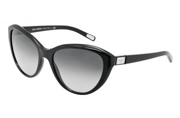 Dolce&Gabbana Logo plaque DG4141 Sunglasses 501/8G-5818 - Shiny Black Frame, Gray Gradient Lenses