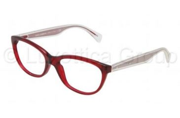 Dolce&Gabbana Mambo collection DG3141 Single Vision Prescription Eyeglasses 550-5316 - Transparent / Red Frame, Demo Lens Lenses
