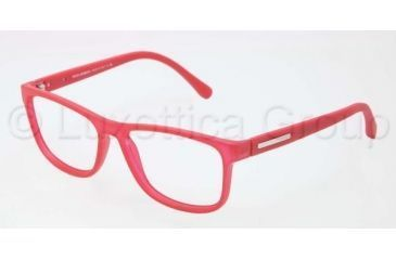 Dolce&Gabbana OVER-MOLDED RUBBER DG5003 Single Vision Prescription Eyeglasses 2693-5415 - Transparent / Red Frame, Demo Lens Lenses