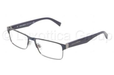 Dolce&Gabbana TAILORING DG1232 Progressive Prescription Eyeglasses 1158-5216 - Gunmetal / Blue Frame, Demo Lens Lenses