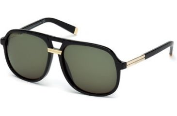 DSquared DQ0071 Sunglasses - Shiny Black Frame Color, Green Lens Color