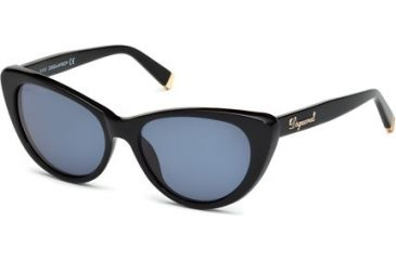 DSquared DQ0079 Sunglasses - Shiny Black Frame Color, Blue Lens Color