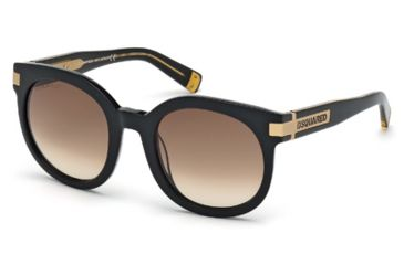 DSquared DQ0134 Sunglasses - Shiny Black Frame Color, Brown Gradient Lens Color