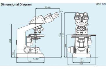 Nikon Eclipse 100 Microscope Dimensional Diagram
