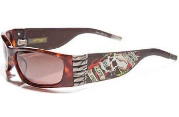 Ed Hardy Death is Certain Sunglasses - Tortoise Frame, Brown Lens