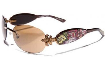 Ed Hardy Three Old School Roses Sunglasses - Cocoa Frame, Brown Lens