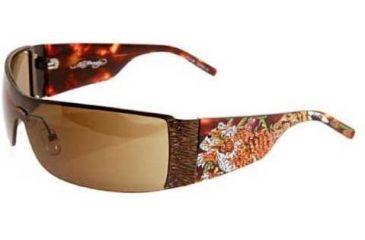 Ed Hardy Tiger Running Crystal Sunglasses - Tortoise Frame, Brown Lens