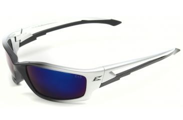 Edge Eyewear Kazbek Safety Glasses - Black Frame, Blue Mirror Lens SK118