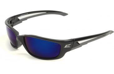 Edge Eyewear Kazbek XL Safety Glasses - Black Frame, Blue Mirror Lens SK-XL118