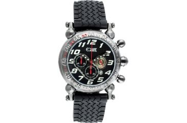 Equipe E106 Balljoint Mens Watch - Silver Case, Black Dial, Rubber Strap