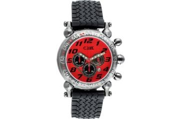 Equipe E108 Balljoint Mens Watch - Silver Case, Red Dial, Rubber Strap