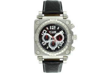 Equipe E303 Gasket Mens Watch - Silver Case/Bezel, Black Leather Strap, Black Dial