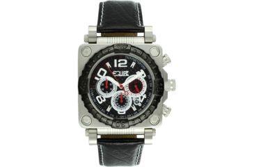 Equipe E304 Gasket Mens Watch - Black Bezel, Silver Case, Black Leather Strap, Black Dial