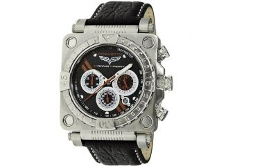 Equipe Ev303 Corvette Grand Sport Mens Watch - Leather Strap, Silver Case, Black Dial