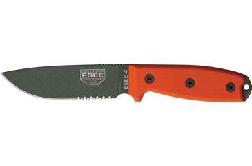 Esee Mdl 4 Srtd Fxd Knife, 4.5in, Orange G10 Hdl,pommel. Molded Kydex sheath with black nylon clip plate ES4SKOOD
