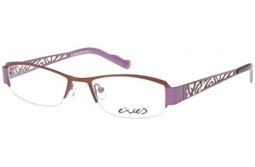 Exces Womens 3083 Eyeglasses - Brown-Lavender Frame w/ Clear Lenses, Size 51-17-135, 51-17-135 3083-782
