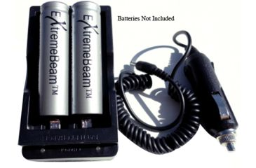 ExtremeBeam 18650 Double Charger with Car Adapter, Black, N/A EB-XA-B03