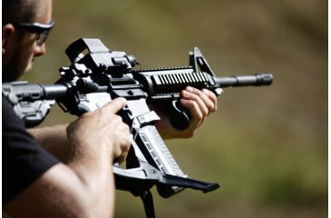 16-FAB Defense AR-15 Quick Deployment Bipod with an Integrated AGR-43 Pistol Grip