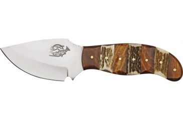 Fox-N-Hound Skinner Fixed Blade Knife, 3.25in, Skinner Blade, Contoured Stag and Wood Handle FH619