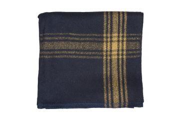 1-Fox Outdoor Mustard-Striped Navy Wool Blanket
