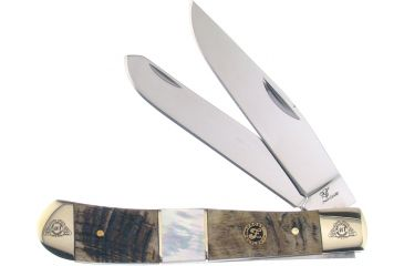 Frost 40th Anniversary Trapper Folding Knife,Clip and Spey Blade, Rams Horn Handle Mother of Pearl Inlay F40108RMR